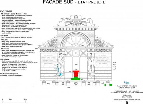 lacroix-sur-meuse - fontaine lavoir - façade sud - état projeté